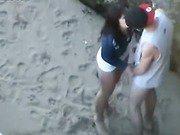 Voyeur porn small lovers captured having sex within beach niche